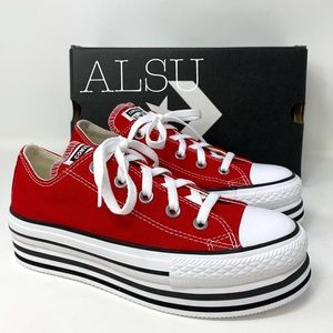 Converse Ctas Platform Layer Canvas Low Enamel Red
